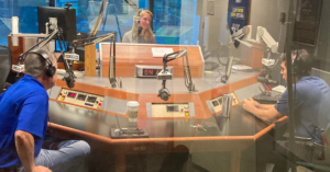 """Jeff and Rafael talking to Ashley Frassca, the host of 95.5 WSB Radio's """"Green and Growing"""" program."""